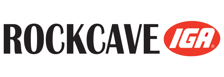 A theme logo of Rock Cave IGA